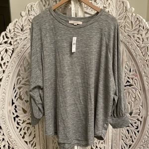 NWT LOFT Grey Billowing Sleeve